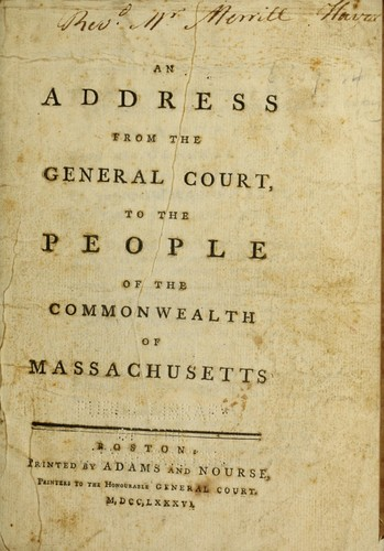 Download An address from the General Court, to the people of the commonwealth of Massachusetts.