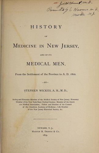 Download History of medicine in New Jersey