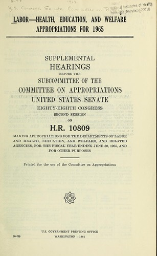 Labor-Health, Education, and Welfare appropriations for 1965