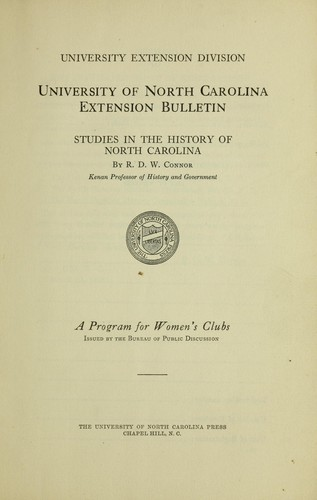 Studies in the history of North Carolina