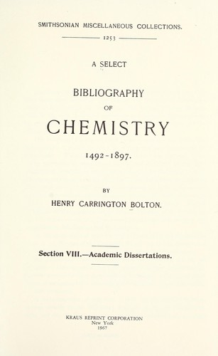 Download A select bibliography of chemistry, 1492-1892.