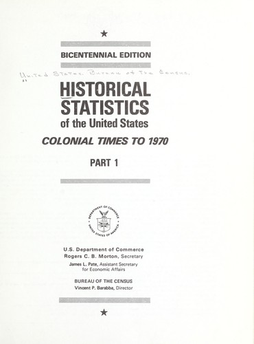 Download Historical statistics of the United States, colonial times to 1970.