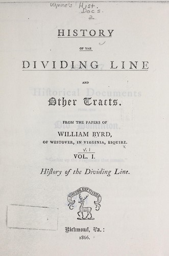 Download History of the dividing line, and other tracts