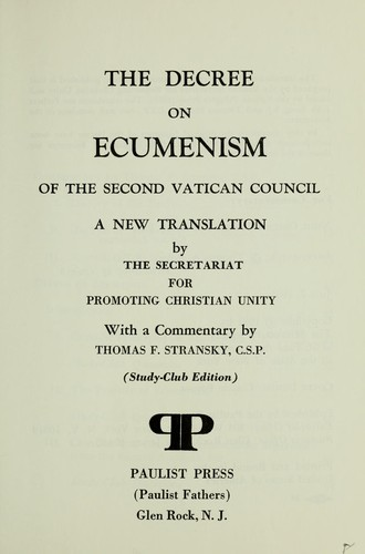 The decree on ecumenism of the Second Vatican Council