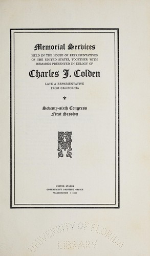 Download Memorial services held in the House of Representatives of the United States