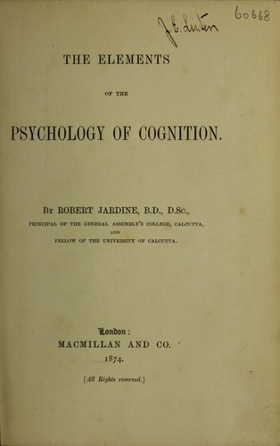 The elements of the psychology of cognition.