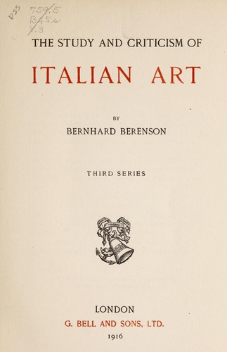 The study and criticism of Italian art.