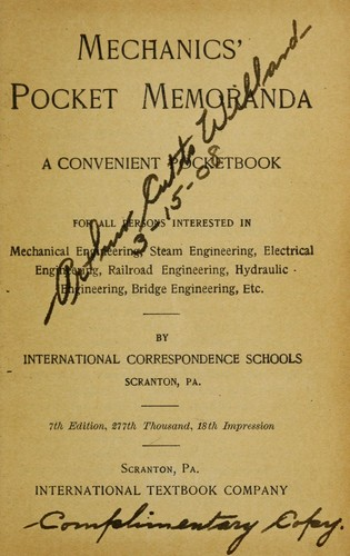 Mechanics' pocket memoranda