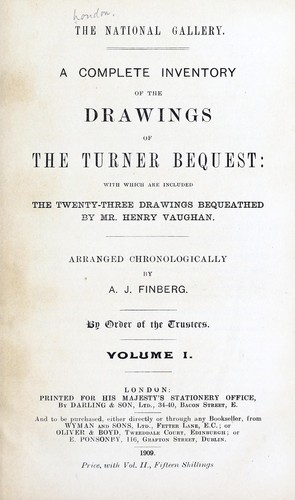 A complete inventory of the drawings of the Turner bequest