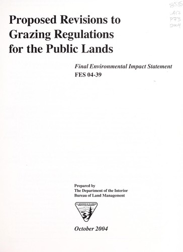 Download Proposed revisions to grazing regulations for the public lands