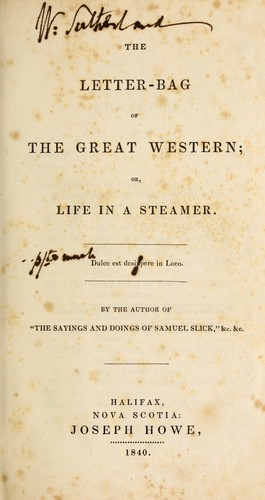 The letter-bag of the Great Western; or, Life in a steamer …