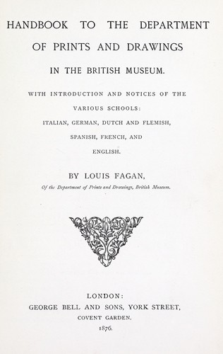 Download Handbook to the Department of prints and drawings in the British museum.