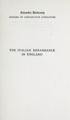 The Italian Renaissance in England: Studies