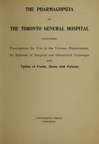 Download The pharmacopoeia of the Toronto General Hospital