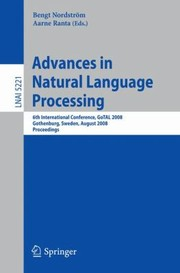 Advances In Natural Language Processing 6th International Conference Gotal 2008 Gothenburg Sweden August 2527 2008 Proceedings
