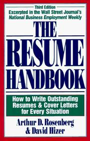 The resume handbook by Arthur D. Rosenberg