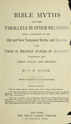 Bible myths, and their parallels in other religions