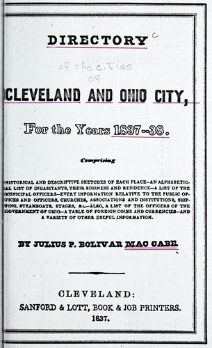 A directory of the cities of Cleveland & Ohio, for the years 1837-38