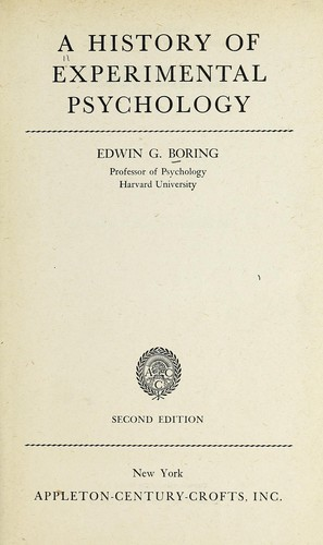 A history of experimental psychology.
