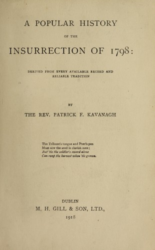 Download A popular history of the insurrection of 1798
