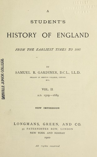 A students history of England from the earliest times to 1885