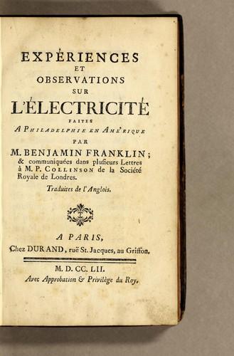 Download Expériences et observations sur l'électricité