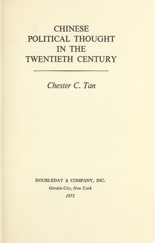 Chinese political thought in the twentieth century