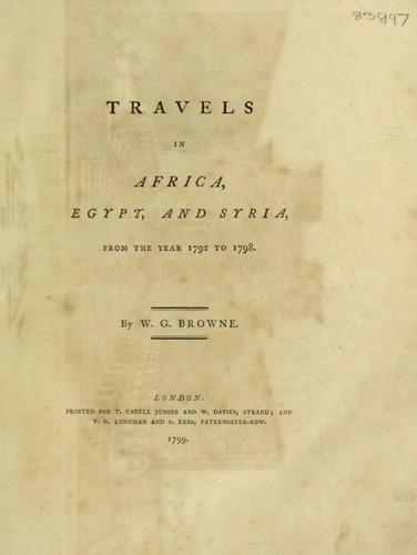 Travels in Africa, Egypt, and Syria, from the year 1792 to 1798.