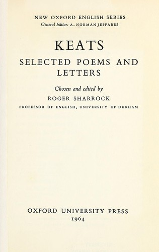 Selected poems and letters.