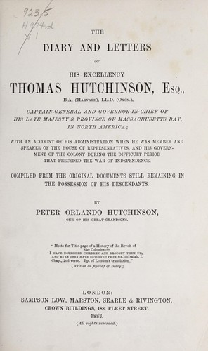 Download The diary and letters of His Excellency Thomas Hutchinson