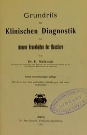 Grundriss der klinischen Diagnostik der inneren Krankheiten der Haustiere
