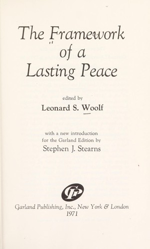 The framework of a lasting peace.