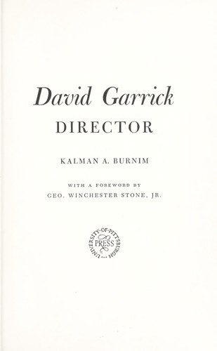 Download David Garrick, director.