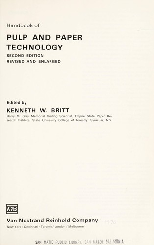 Handbook of pulp and paper technology.