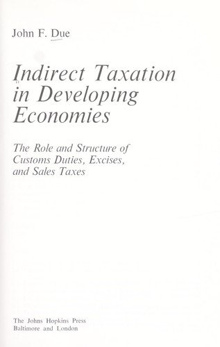Download Indirect taxation in developing economies