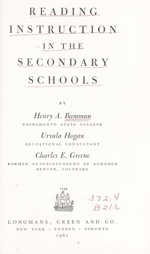 Reading instruction in the secondary schools