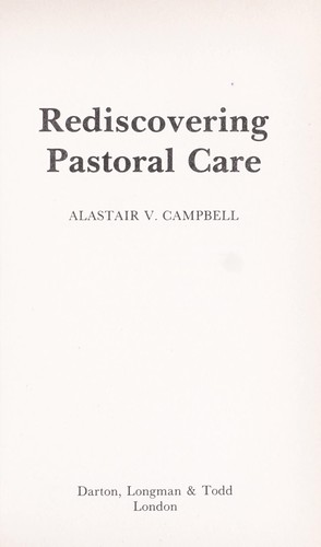 Rediscovering pastoral care
