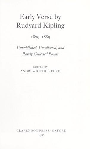 Early verse by Rudyard Kipling 1879-1889