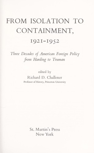 Download From isolation to containment, 1921-1952