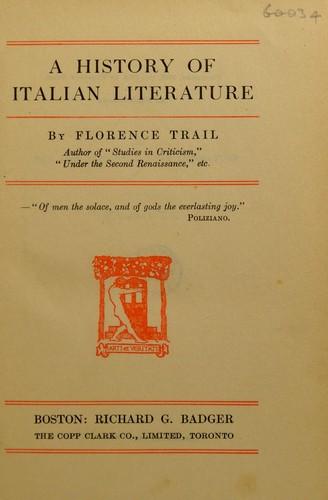 A history of Italian literature.