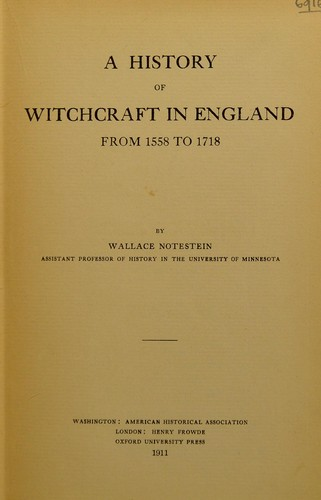 Download A history of witchcraft in England from 1558 to 1718