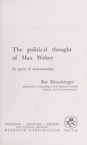 Download The political thought of Max Weber