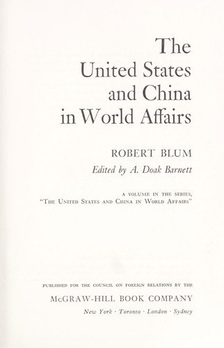 Download The United States and China in world affairs