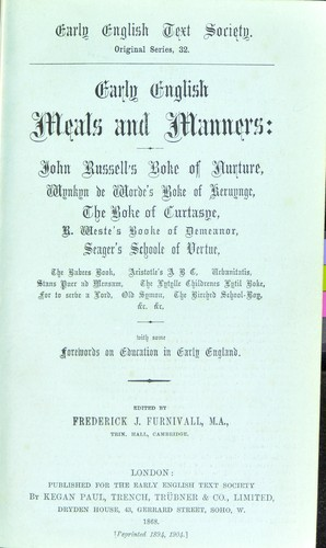 Download Early English meals and manners