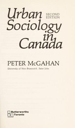 Urban Sociology in Canada
