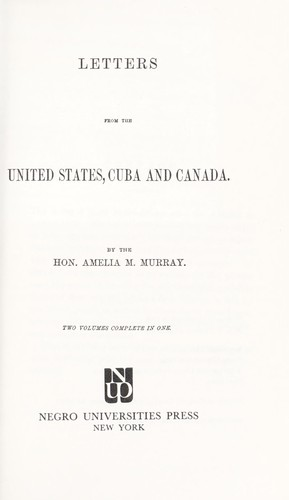 Letters from the United States, Cuba, and Canada
