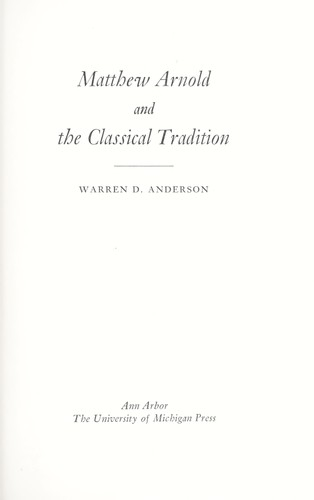 Download Matthew Arnold and the classical tradition