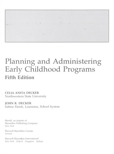 Download Planning and administering early childhood programs