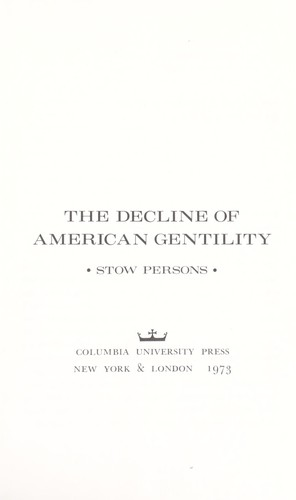 Download The decline of American gentility.