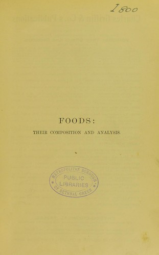 Foods: their composition and analysis.